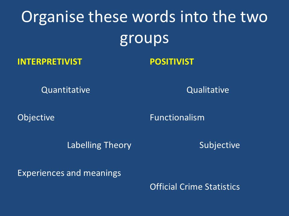 Organise these words into the two groups