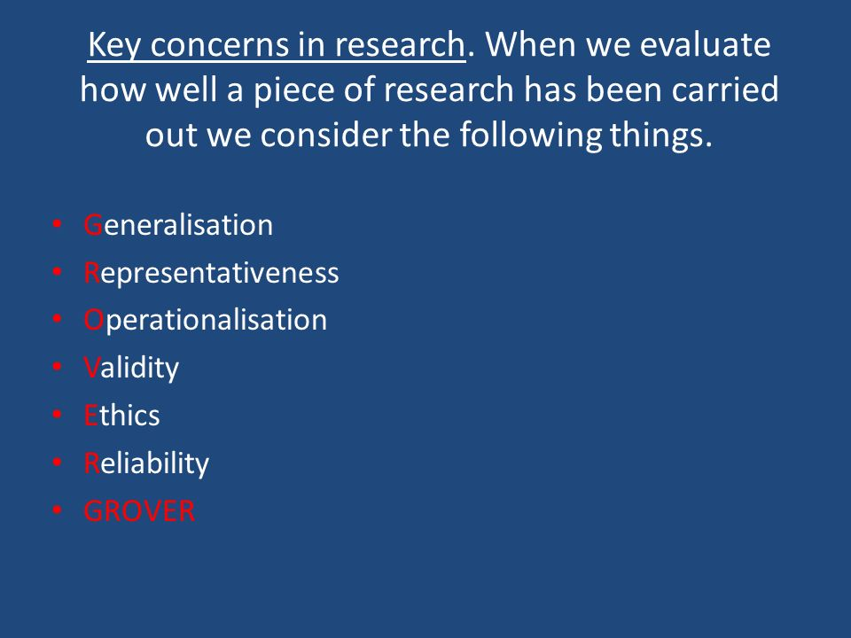 Key concerns in research