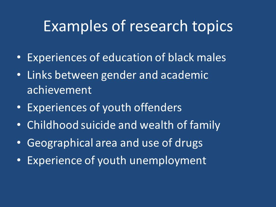 Examples of research topics