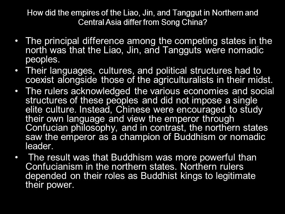 How did the empires of the Liao, Jin, and Tanggut in Northern and Central Asia differ from Song China
