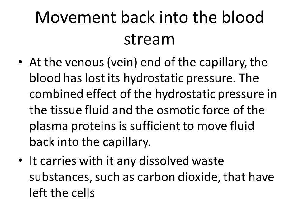 Movement back into the blood stream