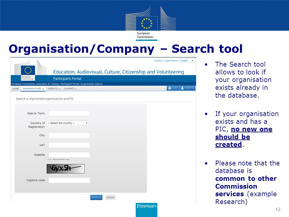 Organisation/Company – Search tool