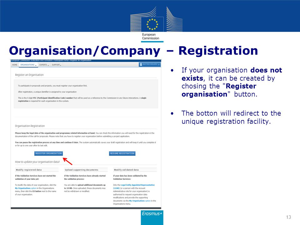 Organisation/Company – Registration