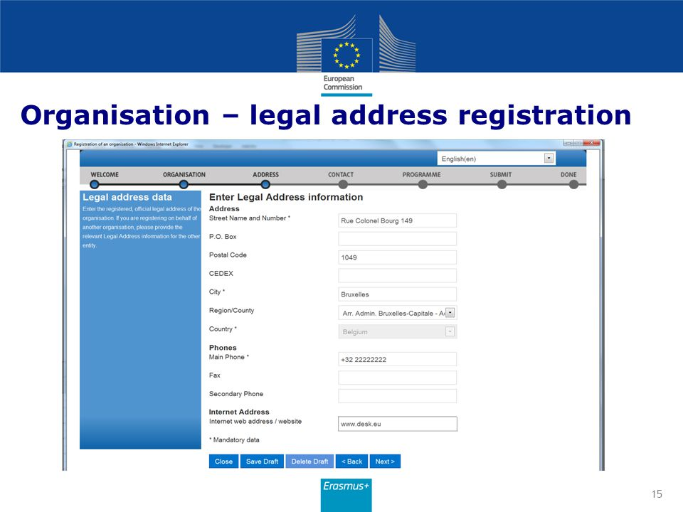 Organisation – legal address registration