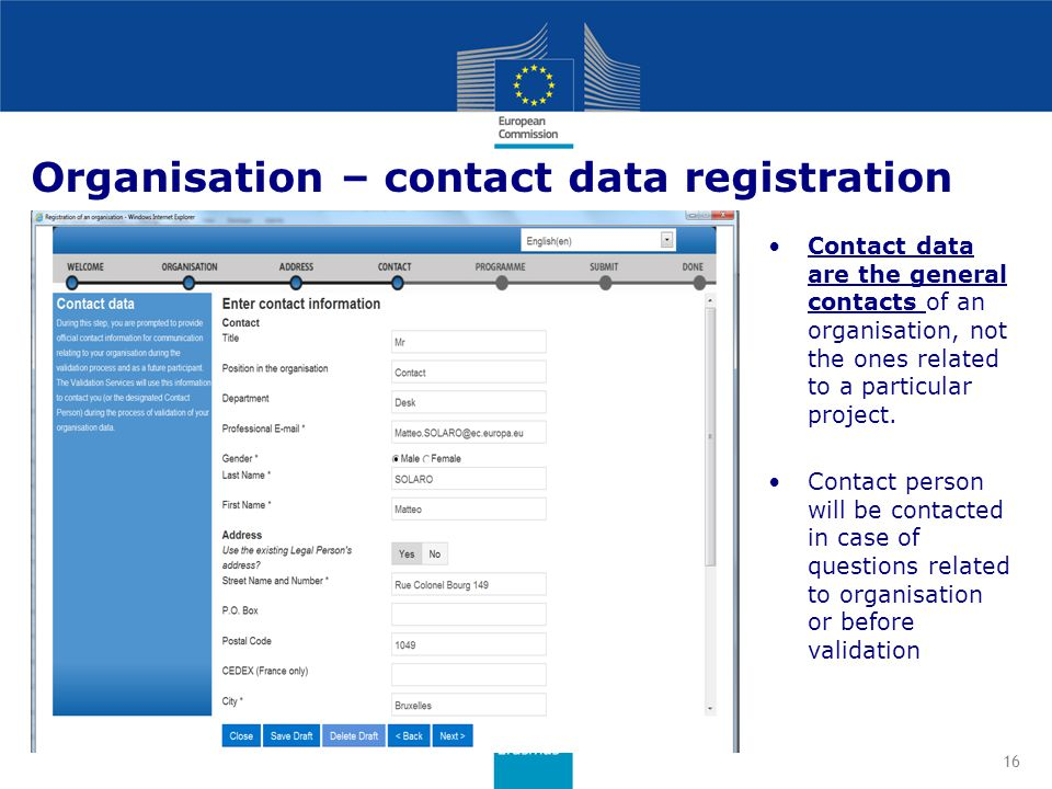 Organisation – contact data registration