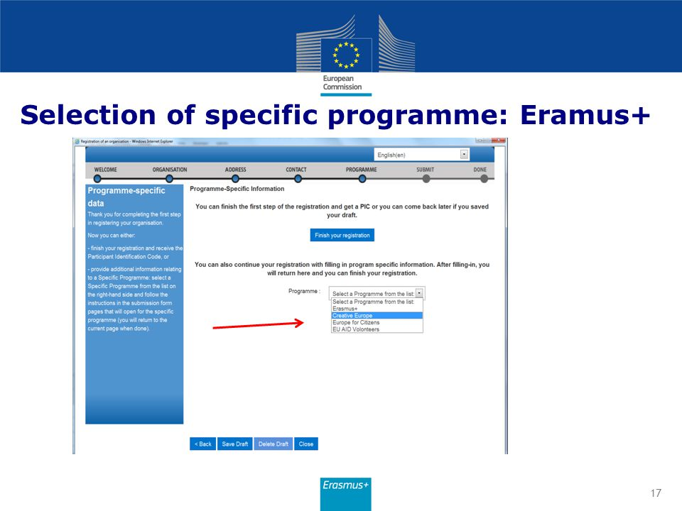 Selection of specific programme: Eramus+
