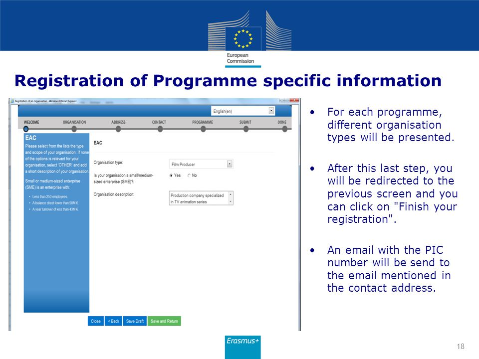 Registration of Programme specific information