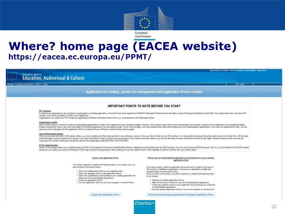 Where home page (EACEA website) https://eacea.ec.europa.eu/PPMT/