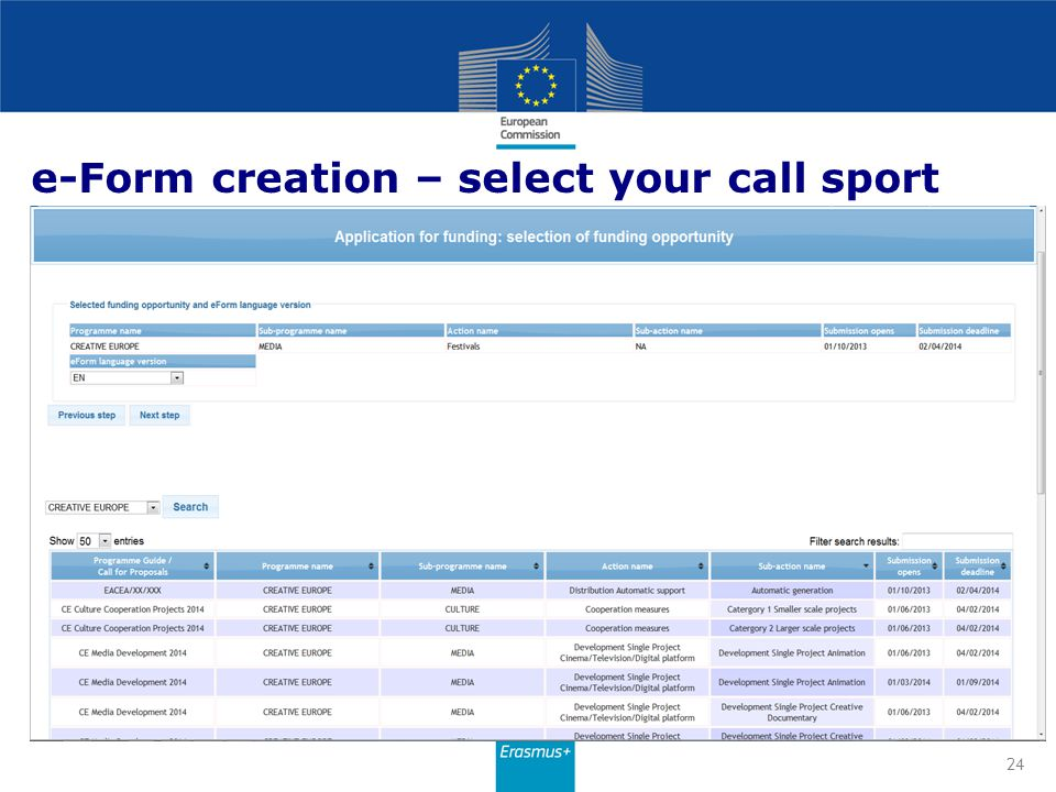 e-Form creation – select your call sport