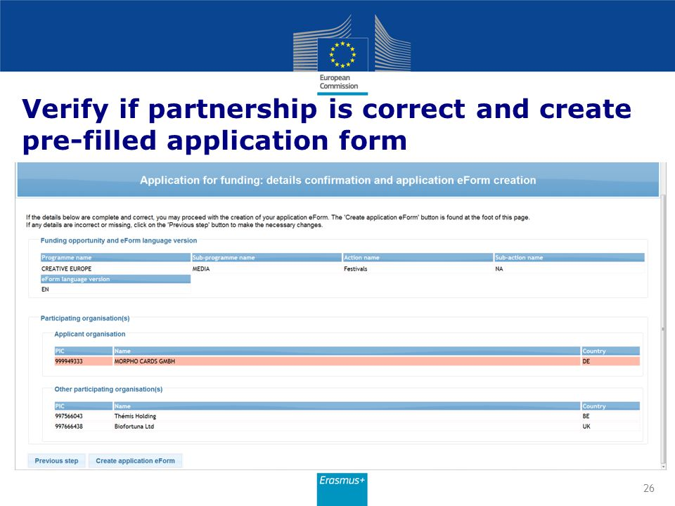 Verify if partnership is correct and create pre-filled application form