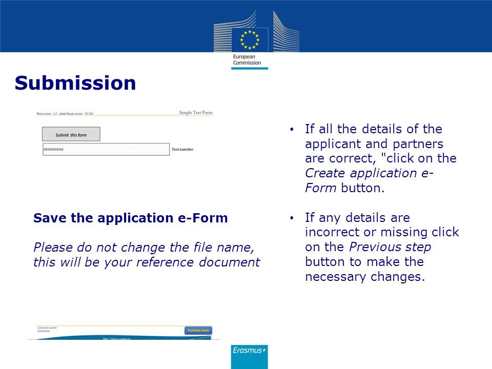 Submission If all the details of the applicant and partners are correct, click on the Create application e-Form button.