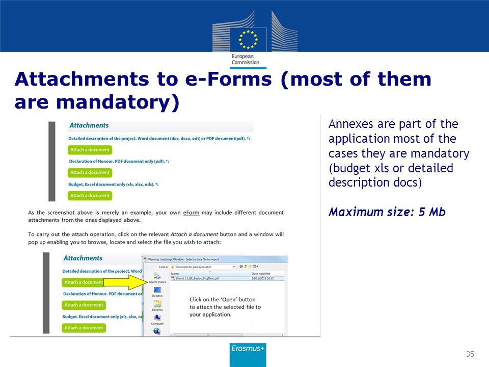 Attachments to e-Forms (most of them are mandatory)