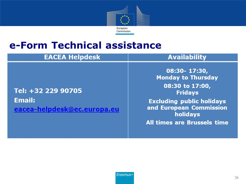 e-Form Technical assistance