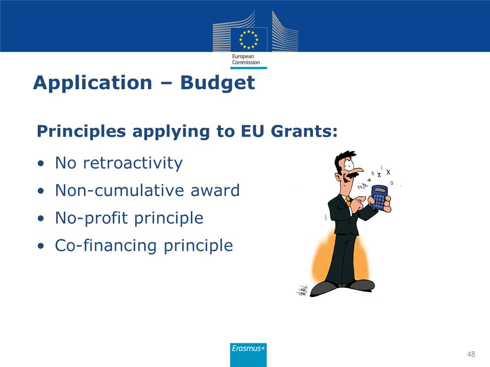 Application – Budget Principles applying to EU Grants: