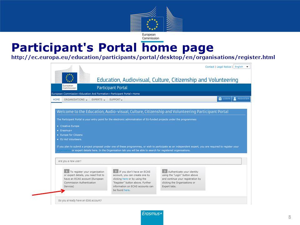 Participant s Portal home page http://ec. europa