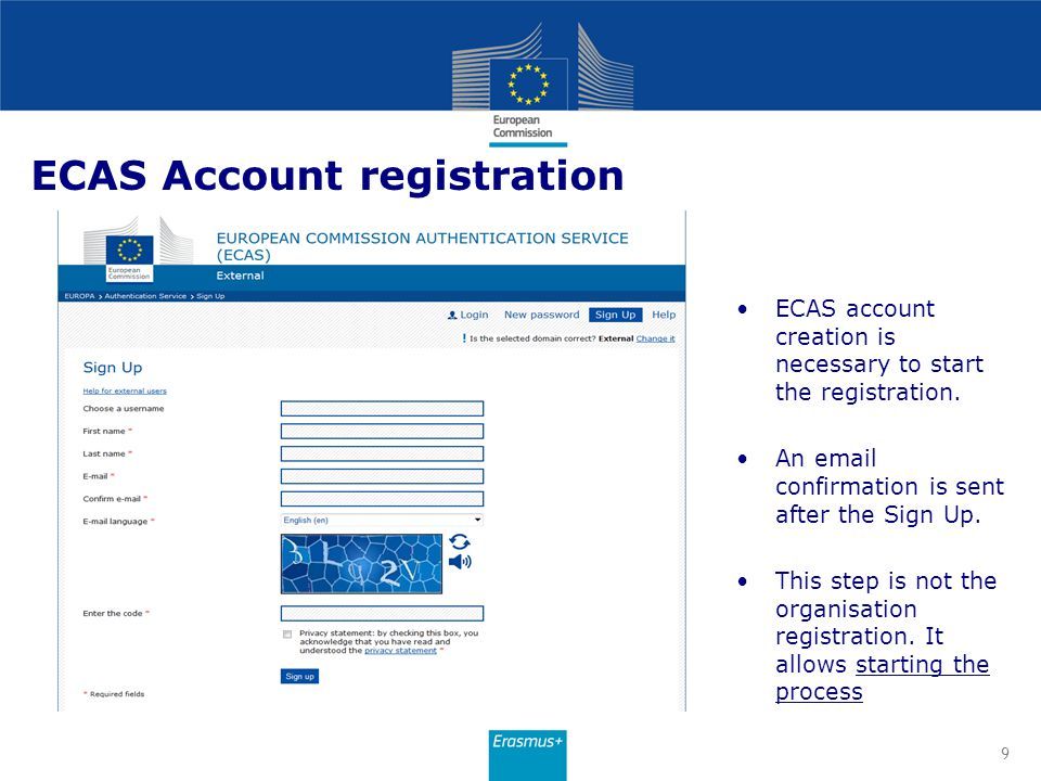 ECAS Account registration