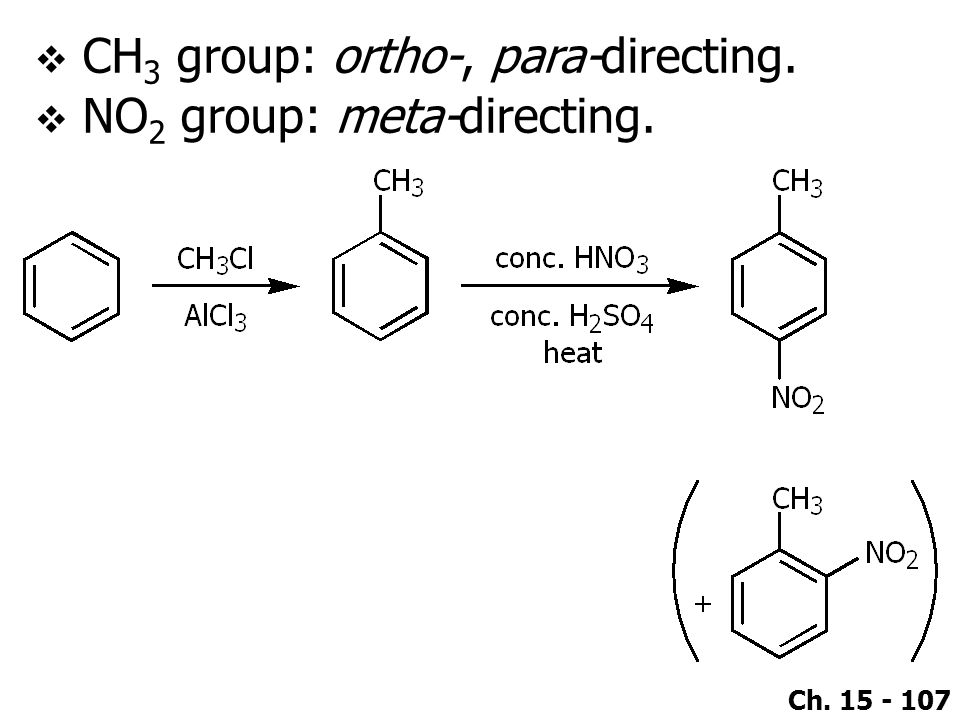 CH3 group: ortho-, para-directing.