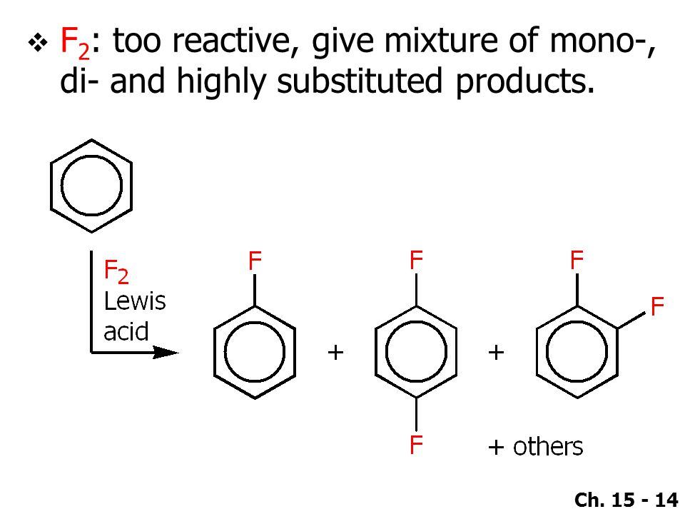F2: too reactive, give mixture of mono-, di- and highly substituted products.