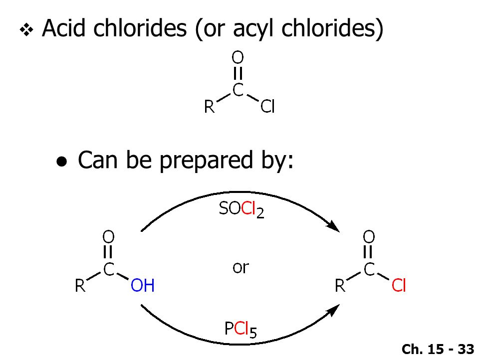 Acid chlorides (or acyl chlorides)