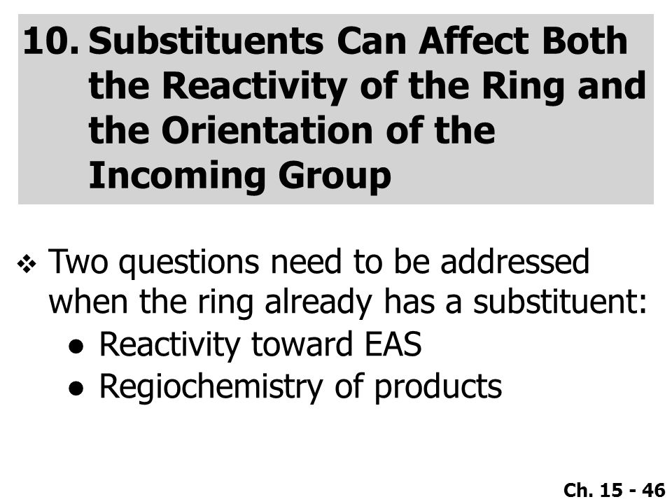 Substituents Can Affect Both the Reactivity of the Ring and the Orientation of the Incoming Group
