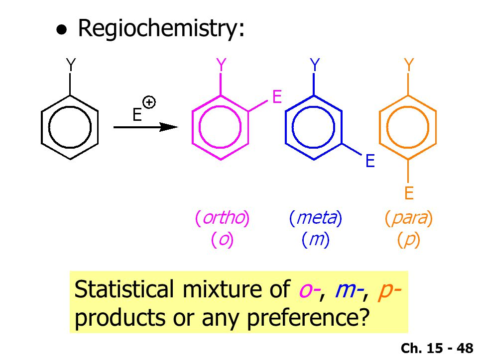 Regiochemistry: Statistical mixture of o-, m-, p- products or any preference