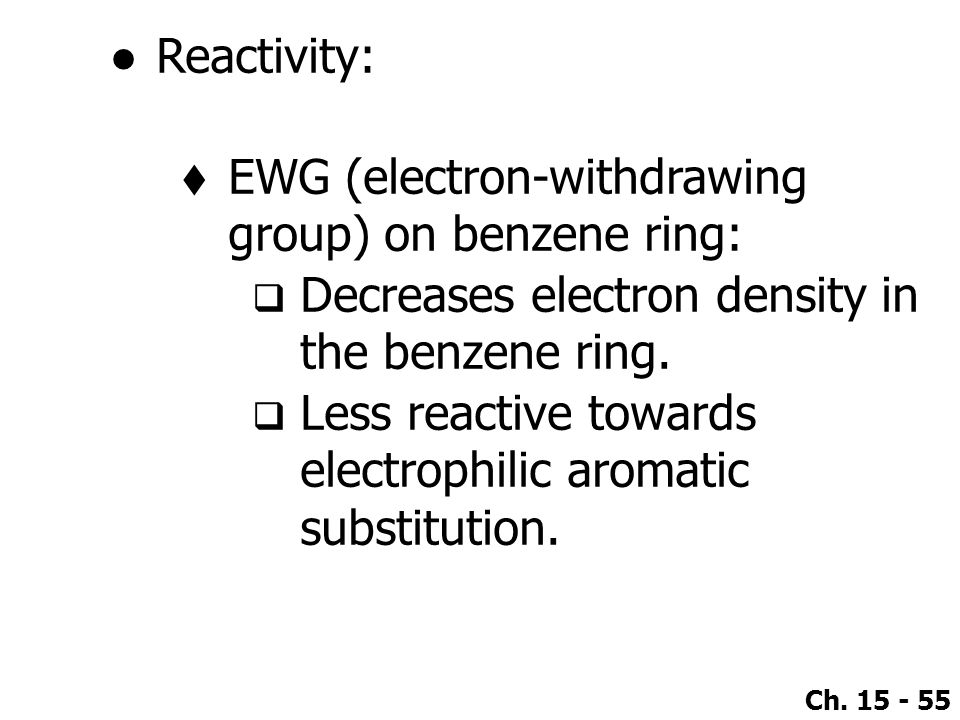 Reactivity: EWG (electron-withdrawing group) on benzene ring: Decreases electron density in the benzene ring.