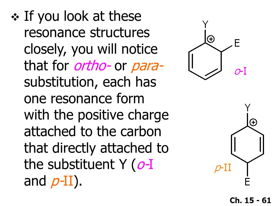 If you look at these resonance structures closely, you will notice that for ortho- or para-substitution, each has one resonance form with the positive charge attached to the carbon that directly attached to the substituent Y (o-I and p-II).