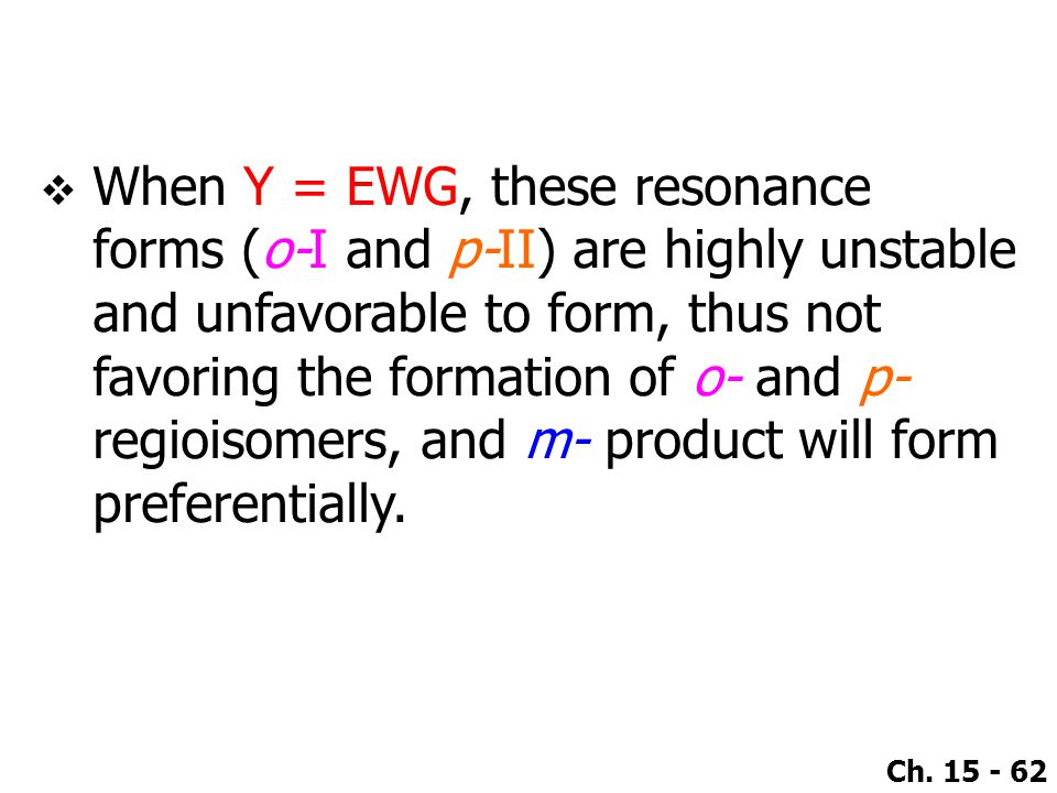 When Y = EWG, these resonance forms (o-I and p-II) are highly unstable and unfavorable to form, thus not favoring the formation of o- and p- regioisomers, and m- product will form preferentially.