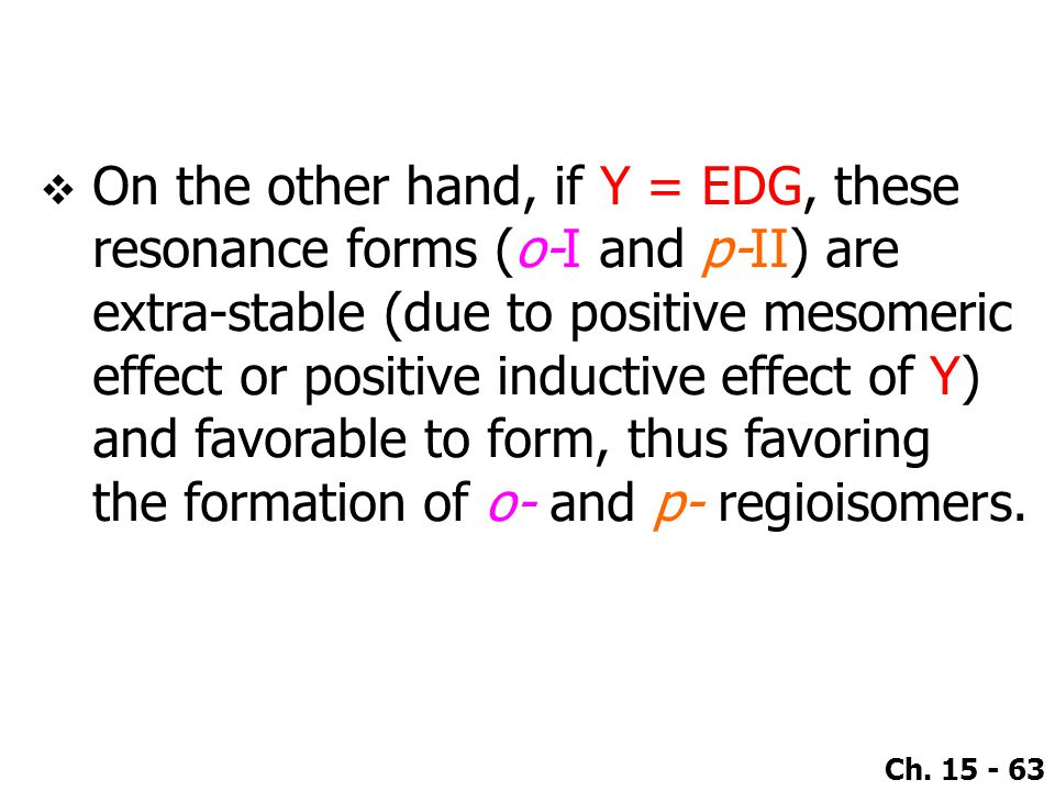 On the other hand, if Y = EDG, these resonance forms (o-I and p-II) are extra-stable (due to positive mesomeric effect or positive inductive effect of Y) and favorable to form, thus favoring the formation of o- and p- regioisomers.
