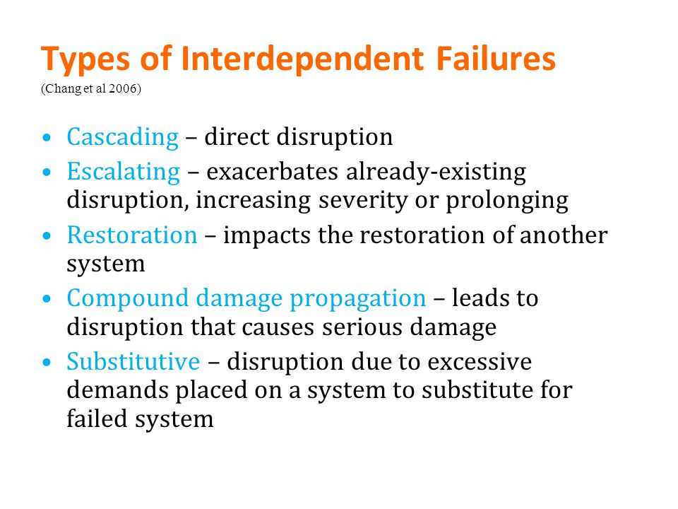 Types of Interdependent Failures (Chang et al 2006)