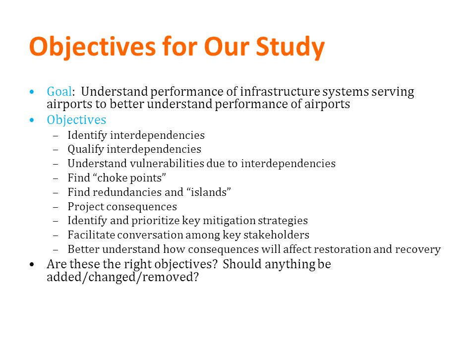 Objectives for Our Study