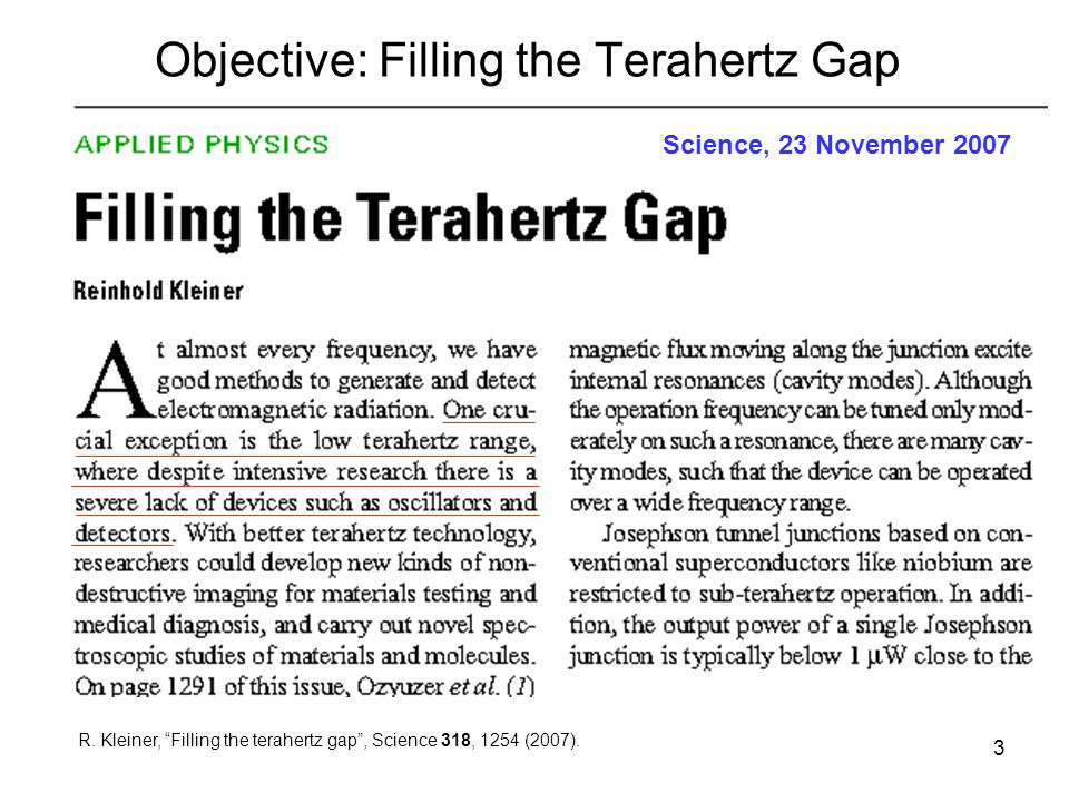 Objective: Filling the Terahertz Gap