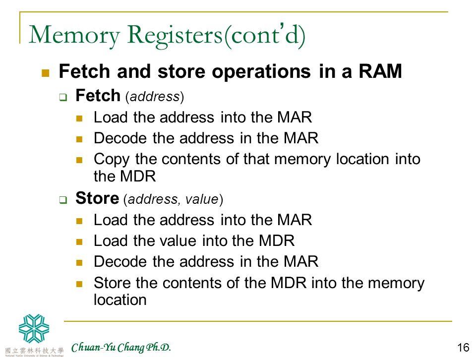 Memory Registers(cont'd)