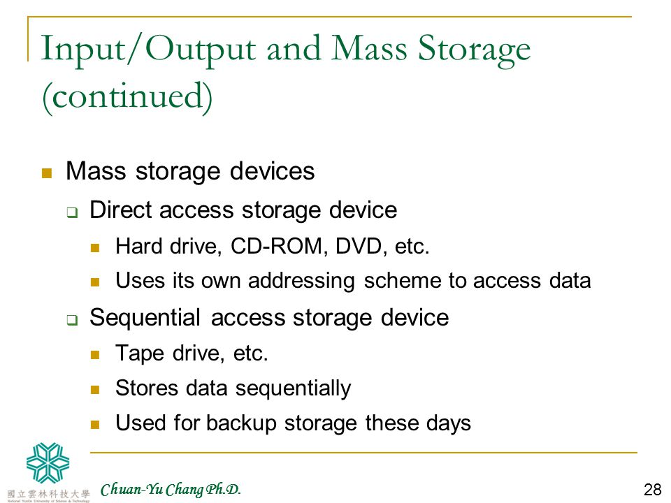 Input/Output and Mass Storage (continued)
