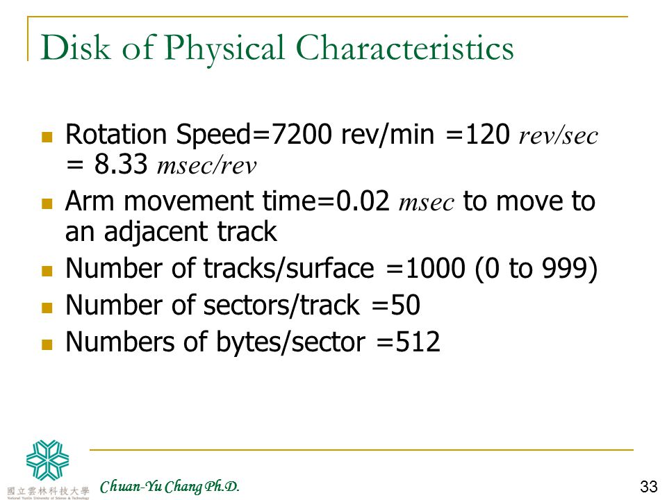Disk of Physical Characteristics