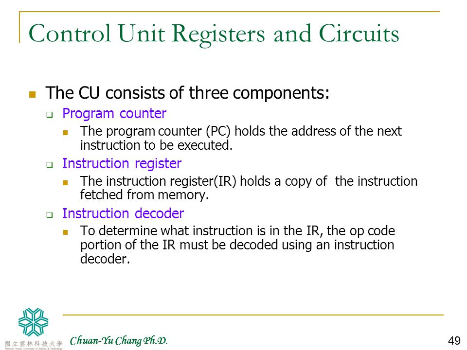 Control Unit Registers and Circuits