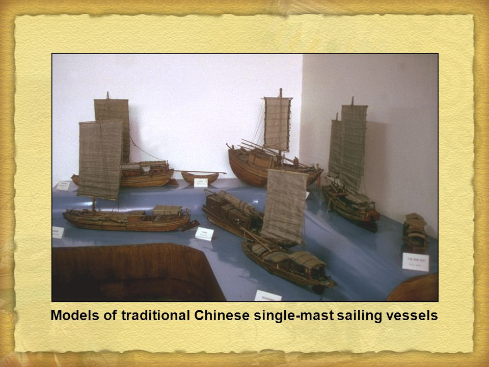 Models of traditional Chinese single-mast sailing vessels