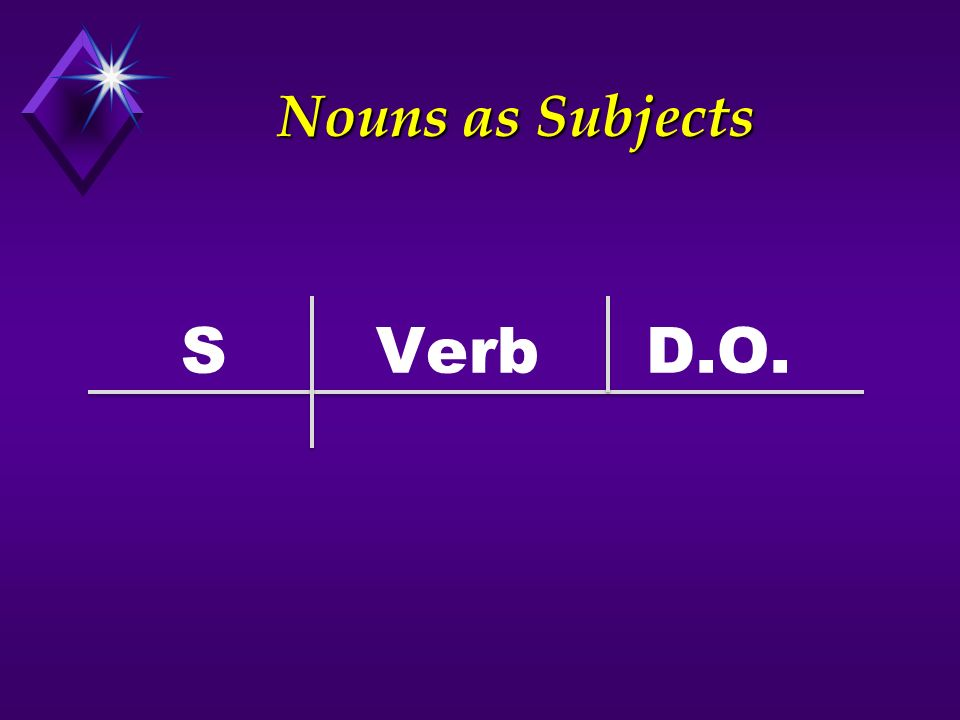 Nouns as Subjects S Verb D.O.