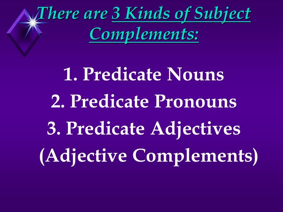 There are 3 Kinds of Subject Complements: