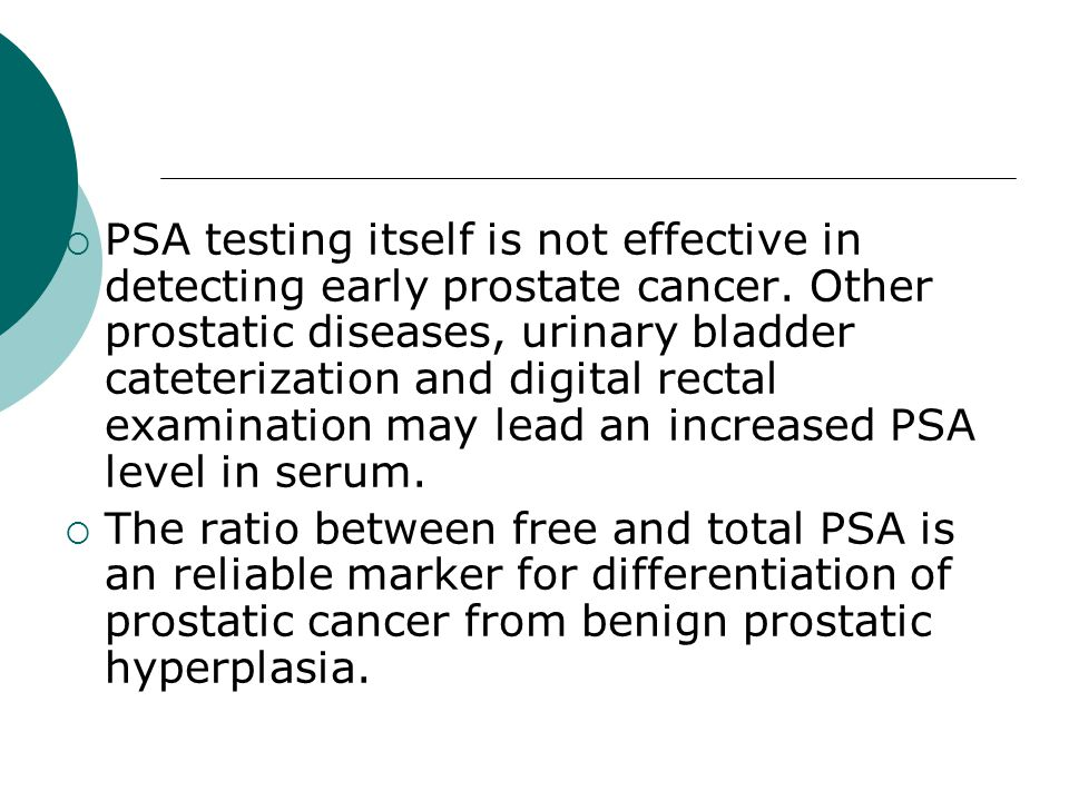 PSA testing itself is not effective in detecting early prostate cancer