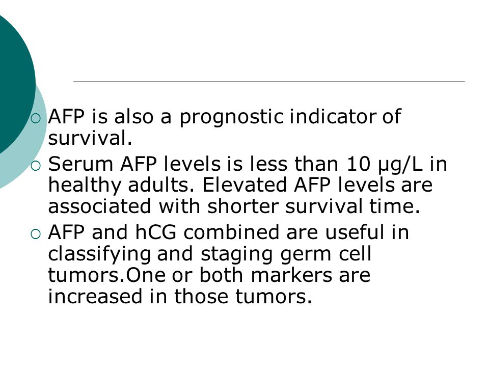 AFP is also a prognostic indicator of survival.