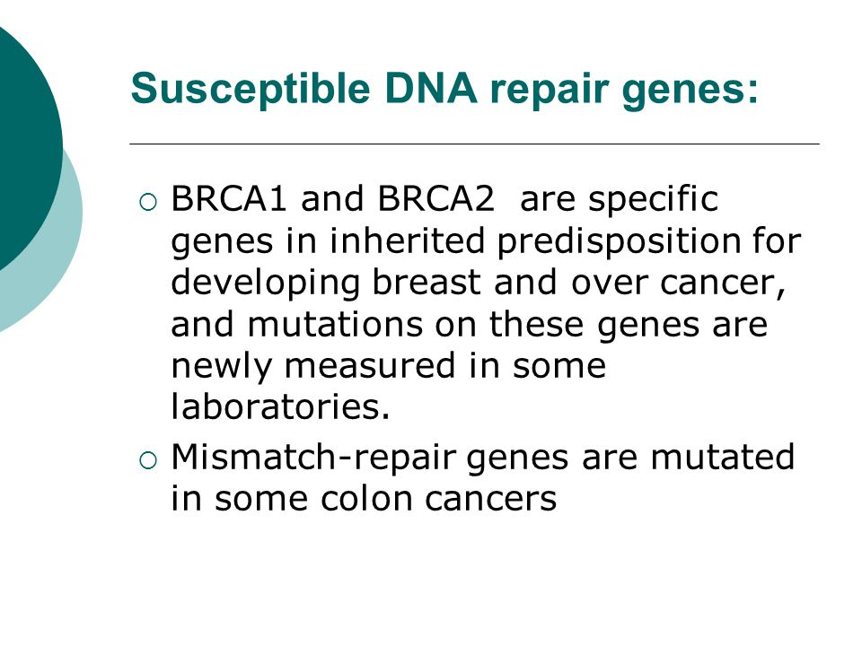 Susceptible DNA repair genes:
