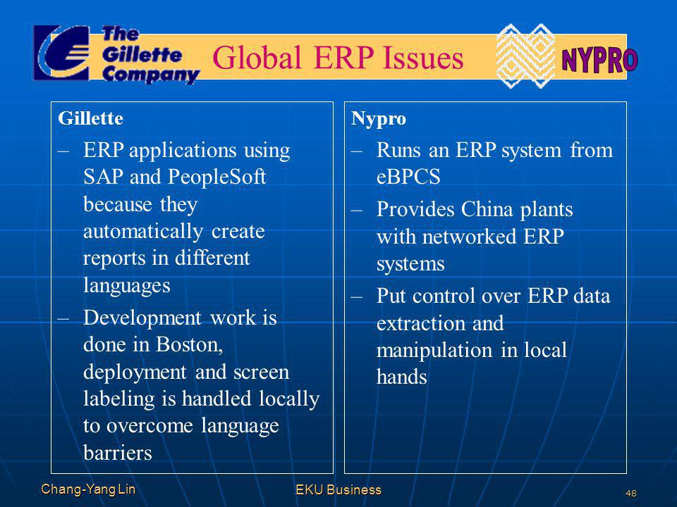 NYPRO Global ERP Issues. Gillette. ERP applications using SAP and PeopleSoft because they automatically create reports in different languages.