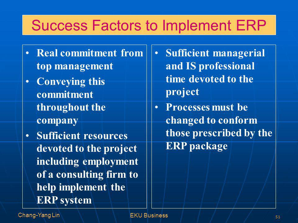 Success Factors to Implement ERP