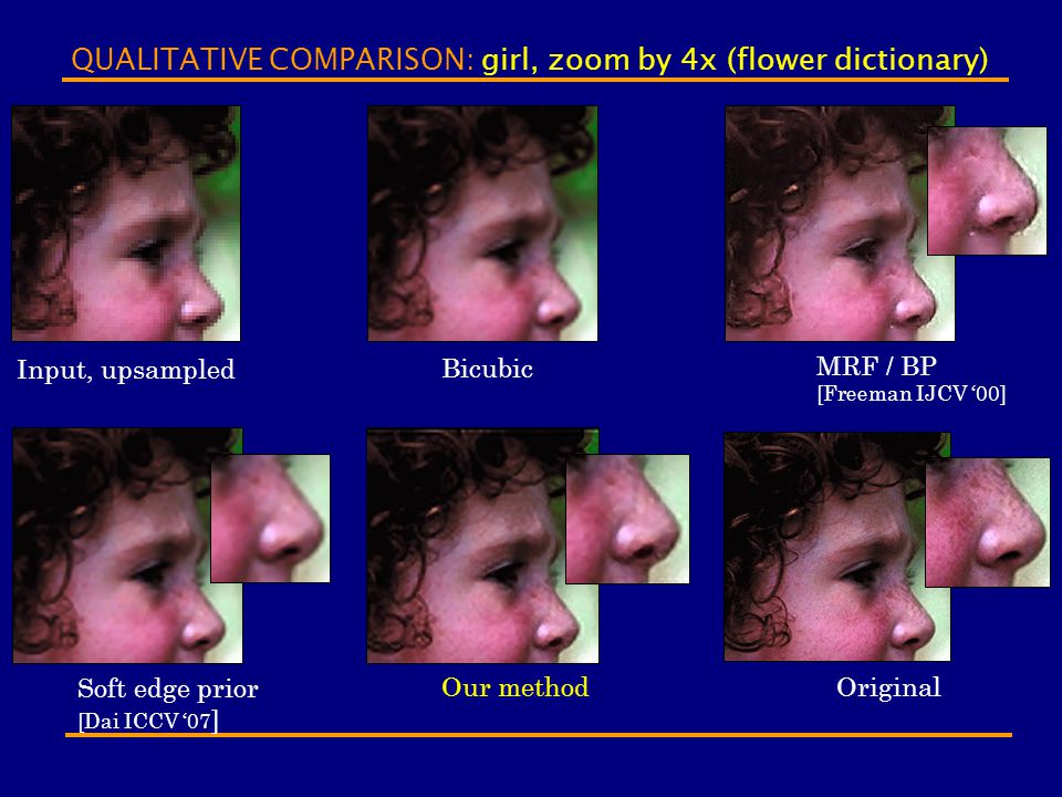 QUALITATIVE COMPARISON: girl, zoom by 4x (flower dictionary)