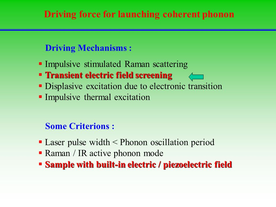 Driving force for launching coherent phonon