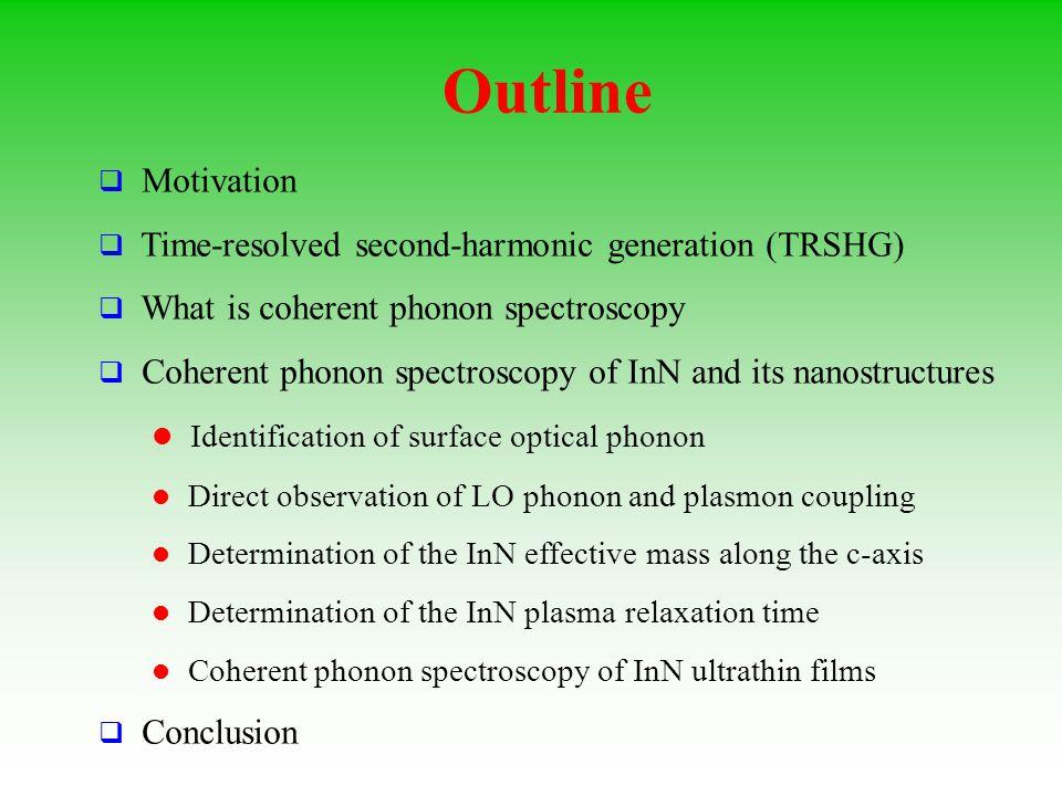 Outline Motivation Time-resolved second-harmonic generation (TRSHG)