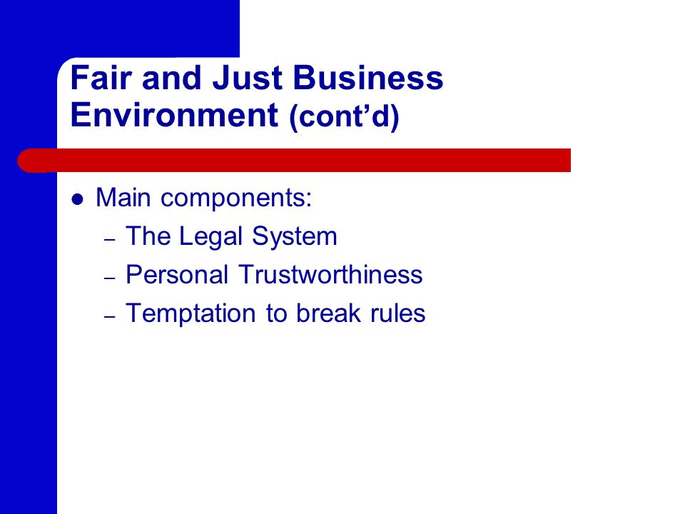 Fair and Just Business Environment (cont'd)