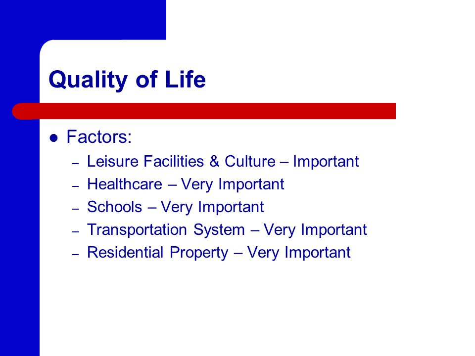 Quality of Life Factors: Leisure Facilities & Culture – Important