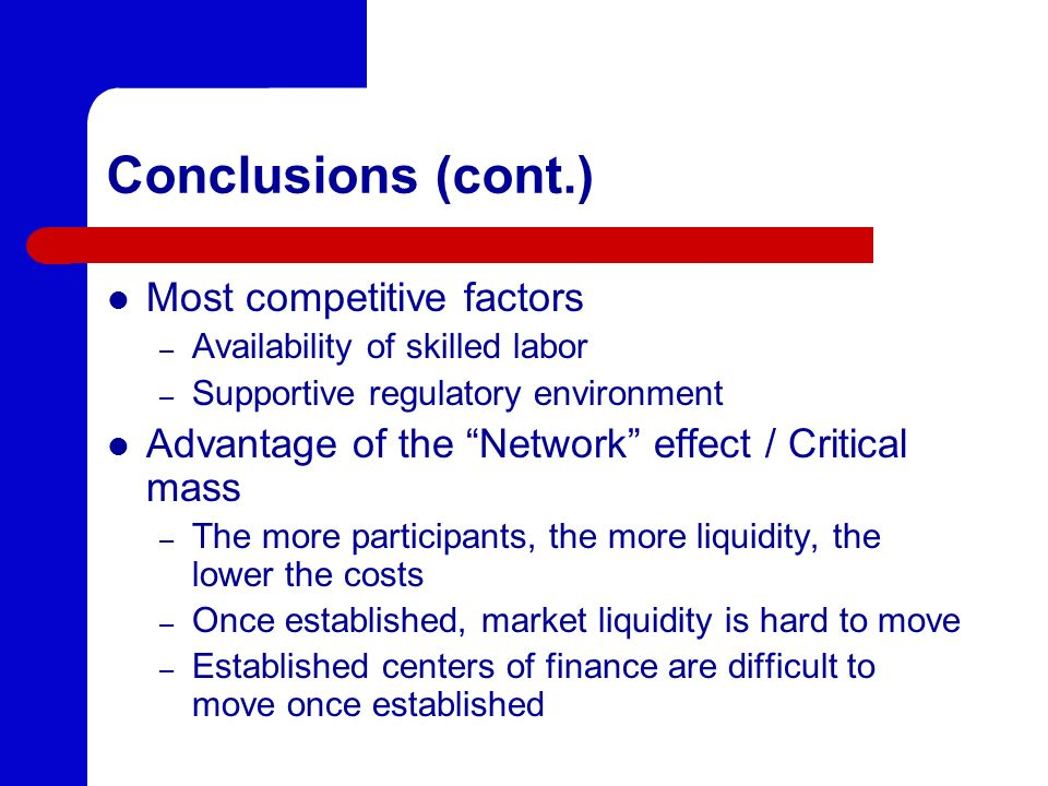 Conclusions (cont.) Most competitive factors